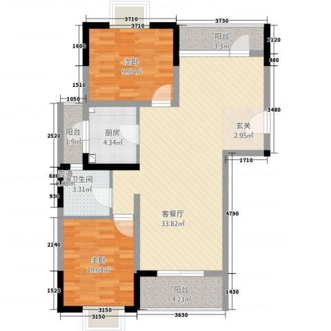 山海・丽景苑2室1厅1卫1厨70.92㎡户型图