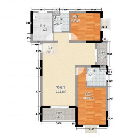 山海・丽景苑2室1厅2卫1厨70.54㎡户型图