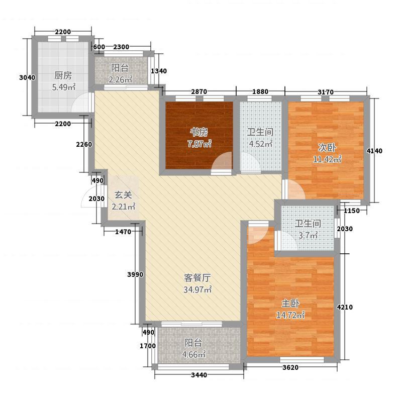 大地・滨河壹号23128.20㎡C户型3室2厅2卫1厨