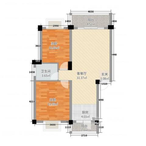 实德金源国际2室1厅1卫0厨84.00㎡户型图
