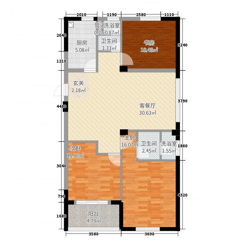 时代香格里拉12.20㎡F平面图户型3室2厅2卫1厨