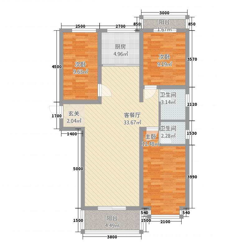 丽水康城811212.19㎡8#A1三居户型3室2厅2卫1厨