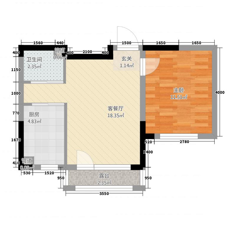 金色橄榄城158.12㎡二期DM-1-b户型1室2厅1卫1厨