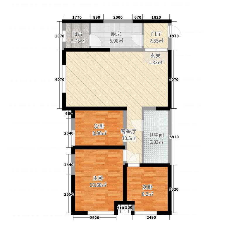 坤杰・拉菲公馆32116.20㎡3#2单元023室户型3室2厅1卫1厨
