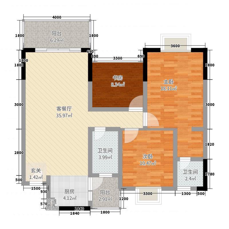 可高启航公馆3111.73㎡3-A-1(B-1)户型3室2厅2卫2厨