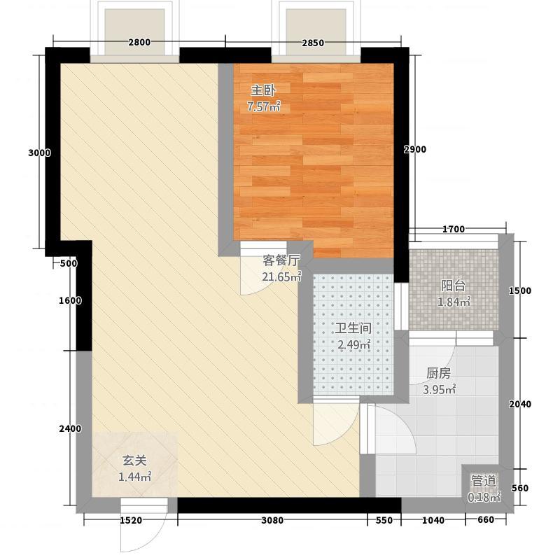 中大君悦金沙9期君雅院55.52㎡3栋标准层A4户型1室2厅1卫1厨