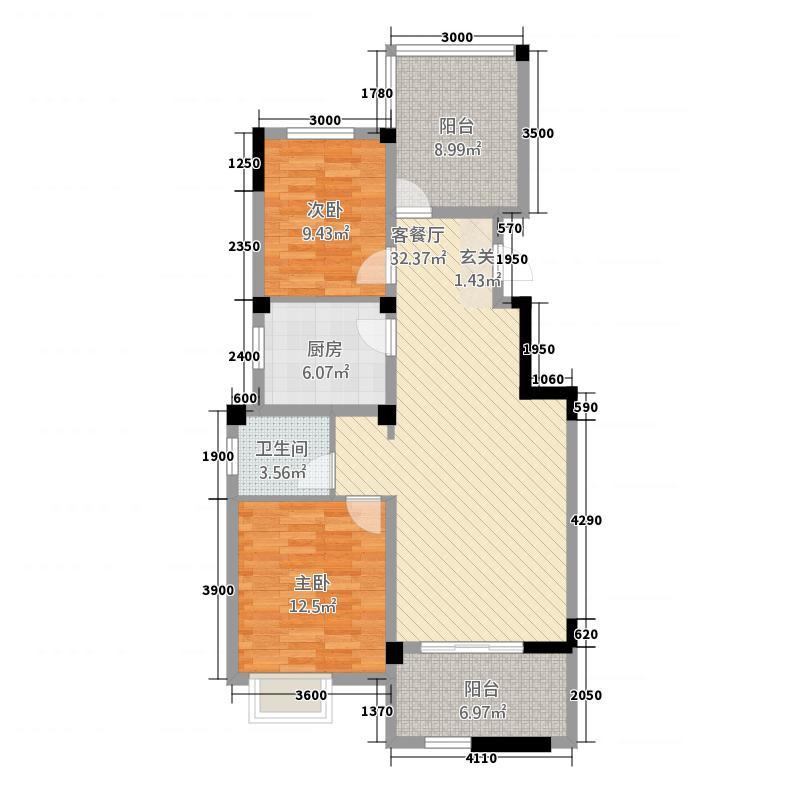 柏庄跨界58.33㎡洋房B5户型2室2厅1卫1厨