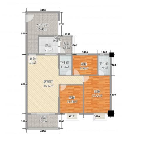 金泰瑞和园3室1厅2卫1厨112.53㎡户型图