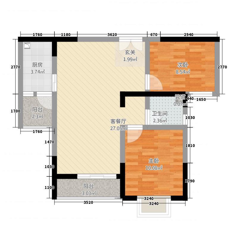 圣鼎理想时代84.22㎡户型2室2厅1卫1厨