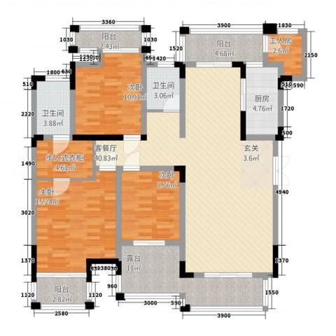 万硕・江城一品3室1厅2卫1厨115.58㎡户型图