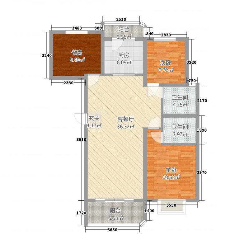 龙泉壹号71112.20㎡7#、11#楼A-3户型3室2厅2卫1厨