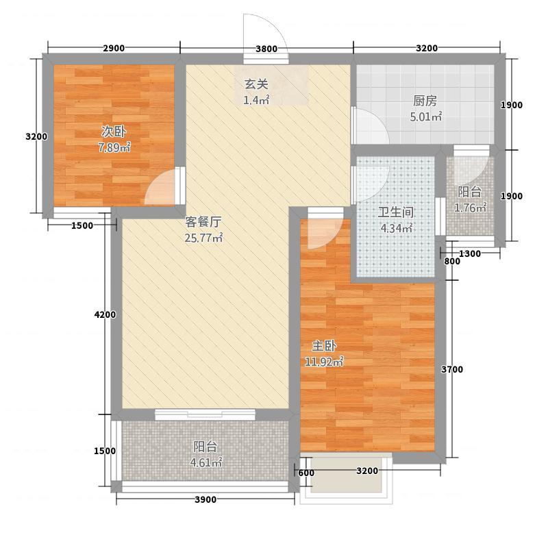 盛世常山124.45㎡1/2号楼B户型2室2厅1卫1厨