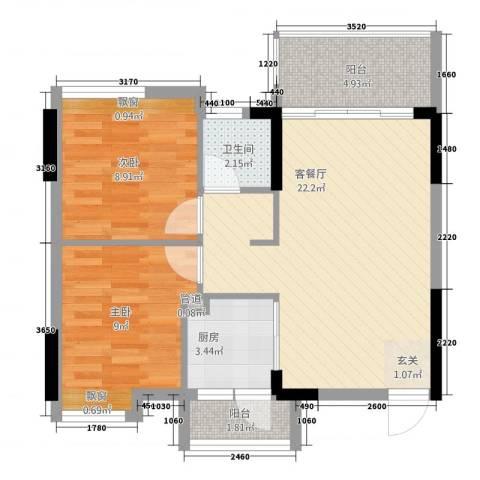 百合嘉园2室1厅1卫1厨75.00㎡户型图