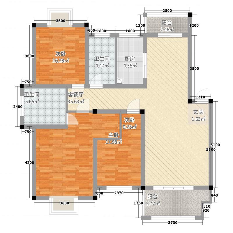 豪盛百合丽城5117116.50㎡50X户型3室2厅2卫1厨