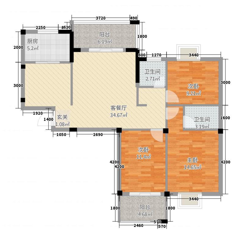 丽江明珠5322113.50㎡户型3室2厅2卫1厨