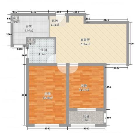 城南春天2室1厅1卫1厨8888.00㎡户型图