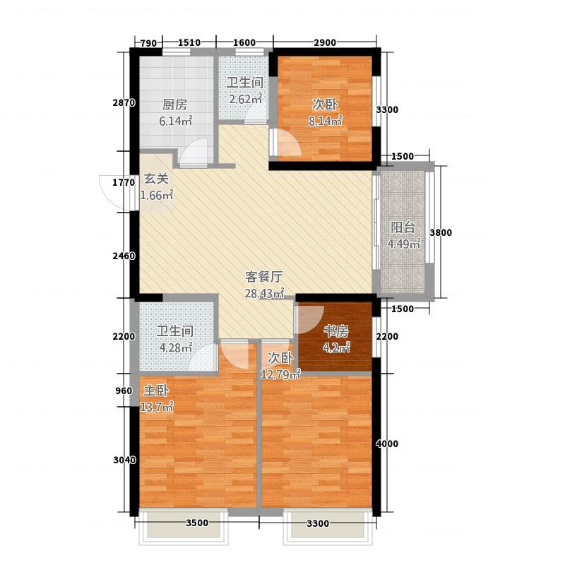 柏庄跨界311.20㎡3#楼标准层D户型3室2厅1卫1厨