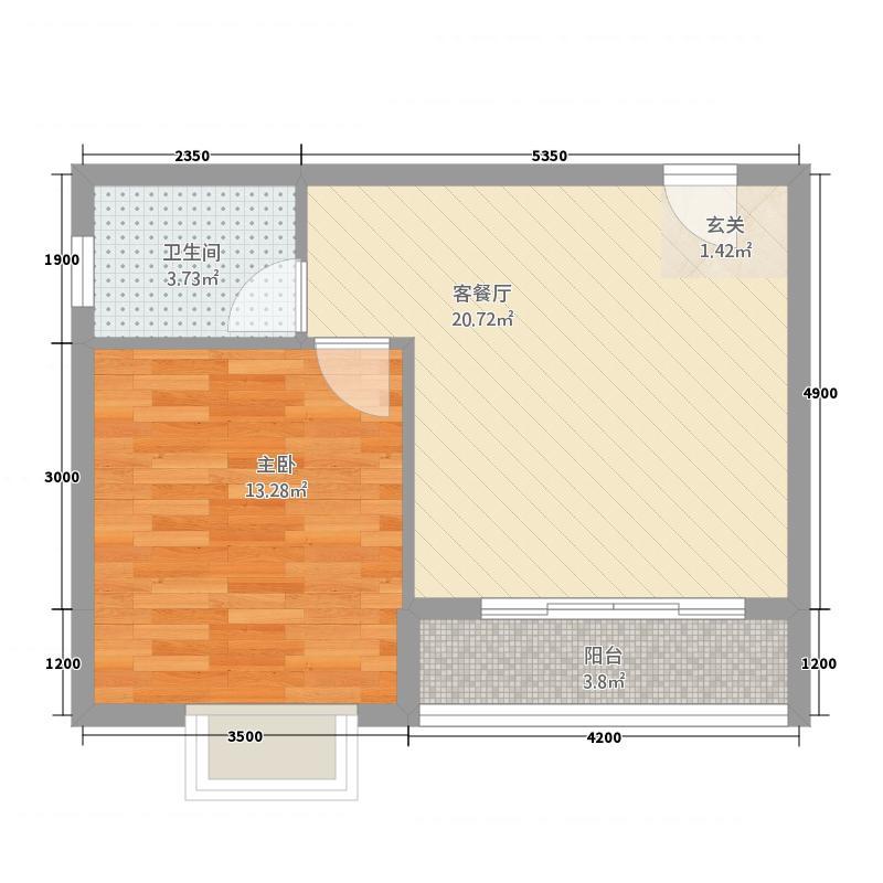 龙正中央海洋公园858.62㎡8#楼C1阳台户型1室1厅1卫