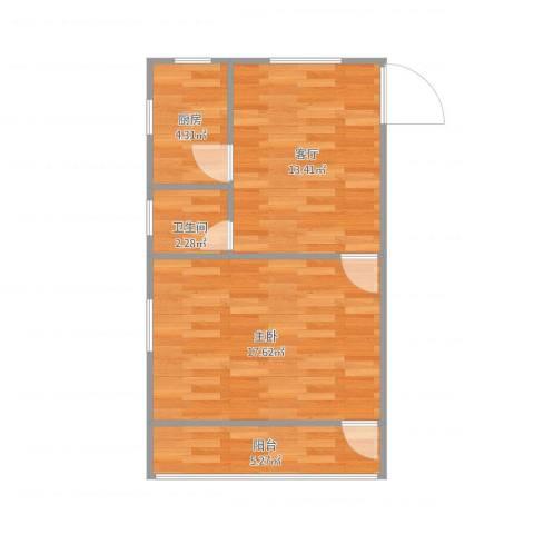 艮园1室1厅1卫1厨58.00㎡户型图