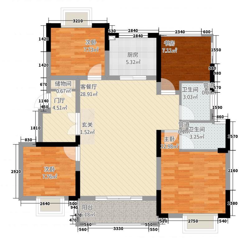 奥克斯钟山府1125.20㎡一期1-4幢标准层C户型4室2厅2卫1厨