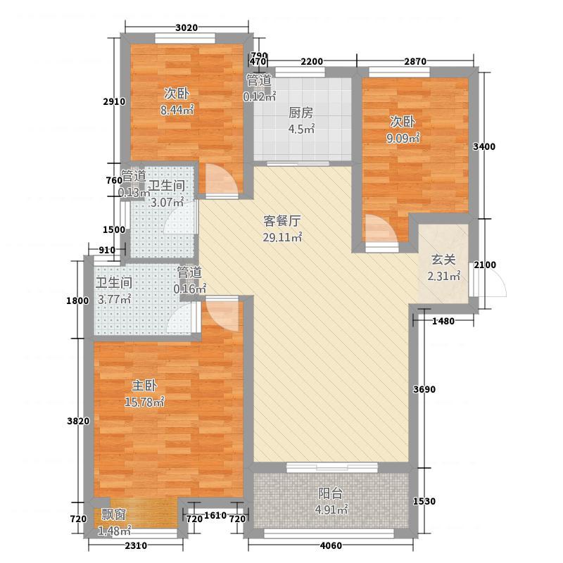 梧桐年华5113.77㎡5号楼A户型3室2厅2卫1厨