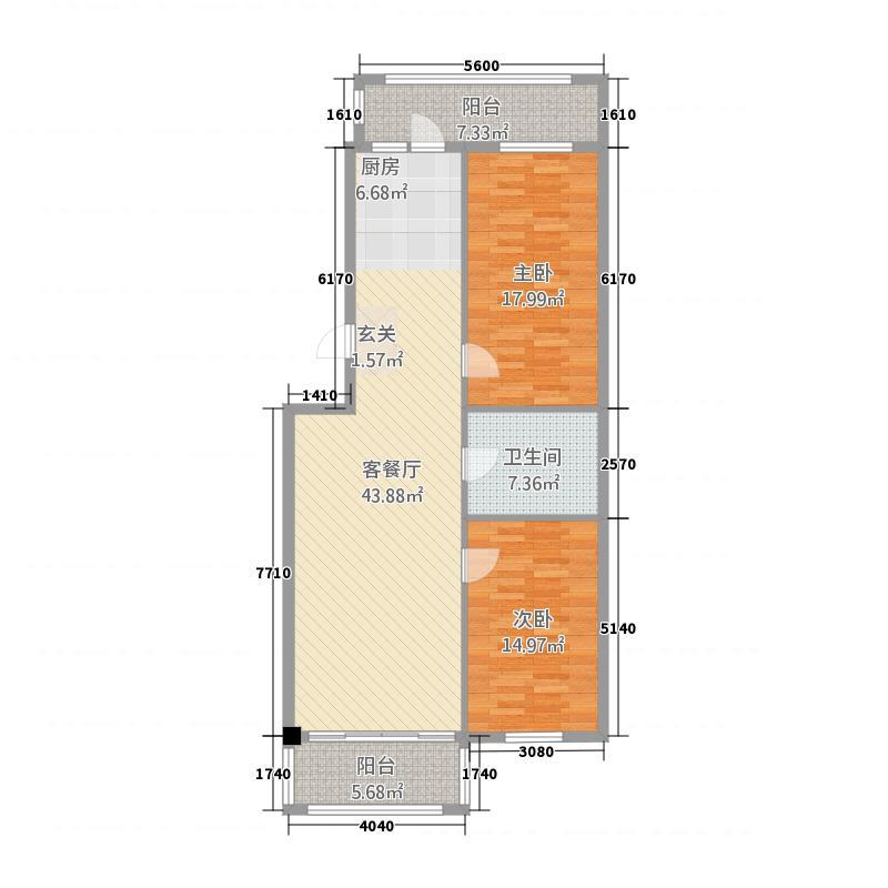 东方瑞景2134.20㎡户型2室2厅1卫1厨