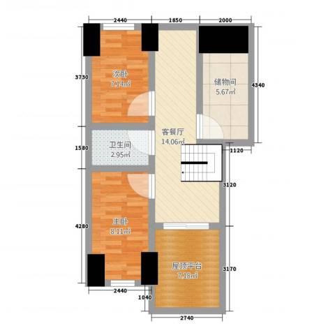 康安家园2室1厅1卫0厨57.00㎡户型图