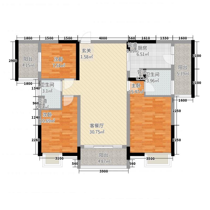 开平海逸华庭117.20㎡逸豪轩2幢02标准层户型3室2厅2卫1厨