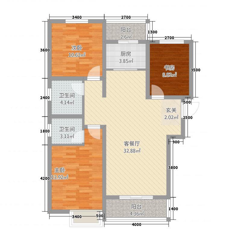 盛世常山12128.52㎡1/2号楼A户型3室2厅2卫1厨
