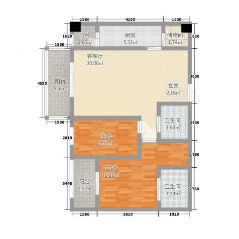 中力广场2室1厅2卫1厨81.28㎡户型图