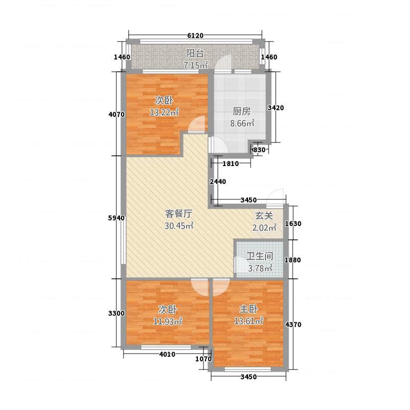 东方瑞景3124.51㎡户型3室1厅1卫1厨
