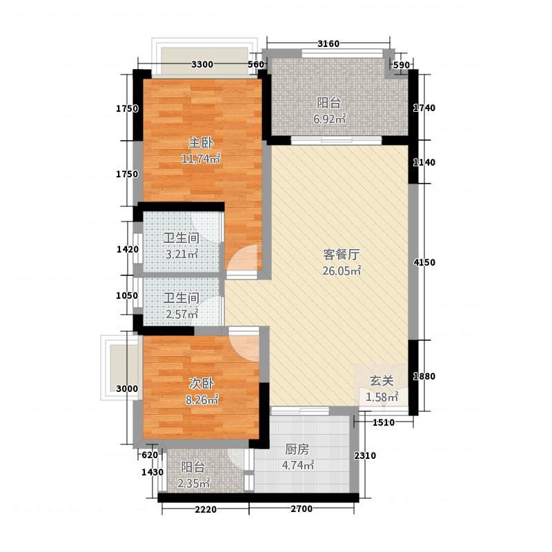 恒春凤凰城1栋/1号房户型2室2厅2卫1厨