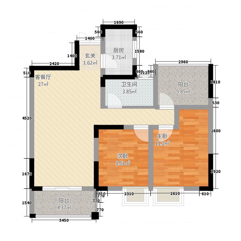 霍邱御龙湾33.65㎡C3户型3室2厅1卫1厨