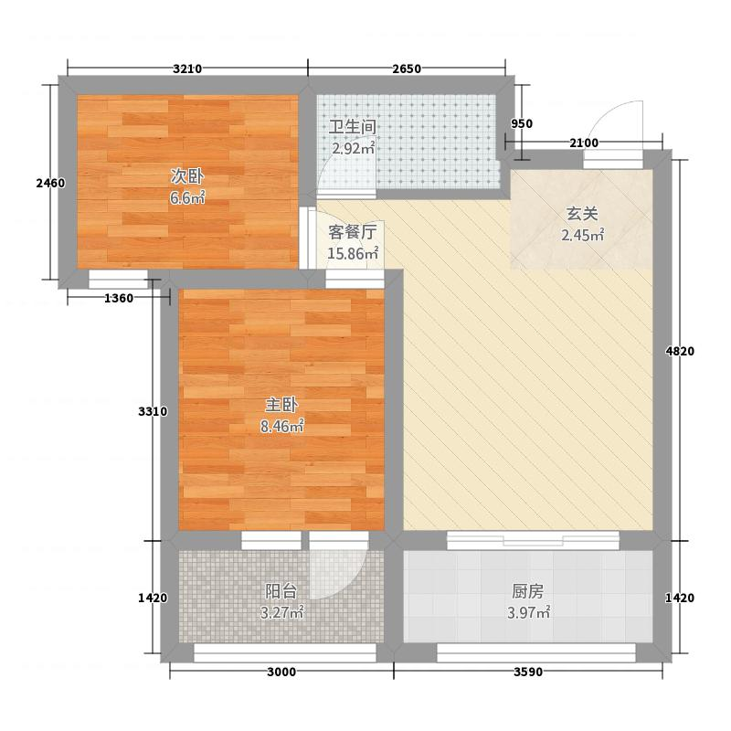 黄金海岸61.00㎡户型2室1厅