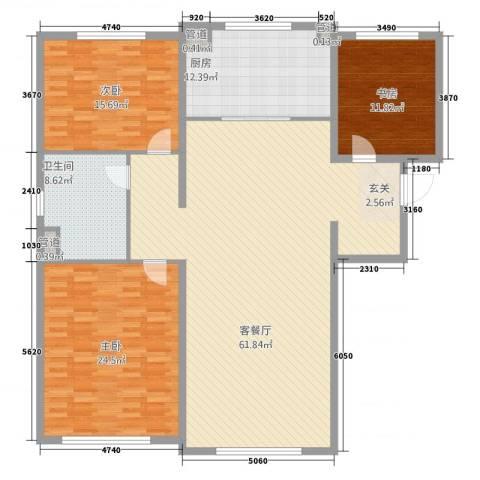 万科海港城3室1厅1卫1厨186.00㎡户型图