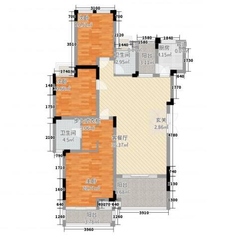 万硕・江城一品3室1厅2卫1厨117.00㎡户型图