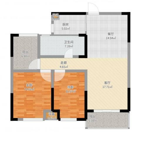 城置国际花园城2室1厅1卫1厨126.00㎡户型图