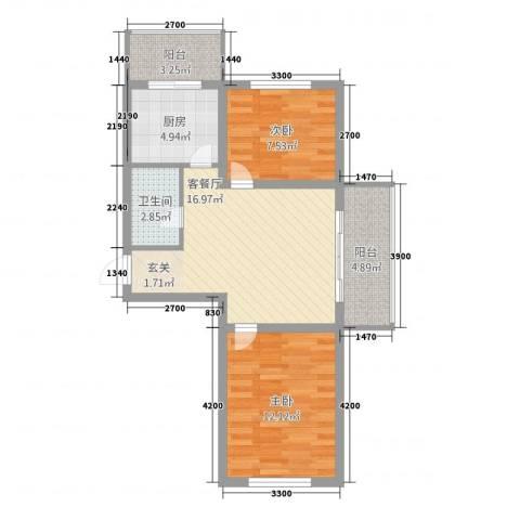 台北华郡2室1厅1卫1厨70.00㎡户型图