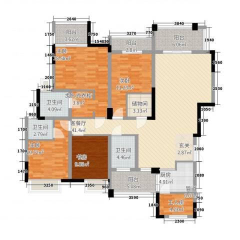 万硕・江城一品4室1厅3卫1厨159.00㎡户型图