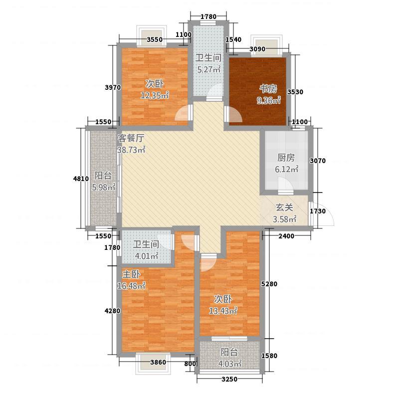 御景世家14.20㎡1#A1阳台户型4室2厅2卫