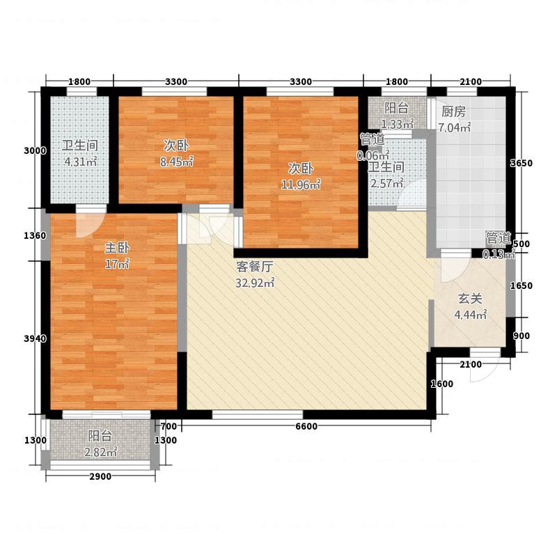 中渝国际城3223127.25㎡3-2--户型3室2厅2卫1厨