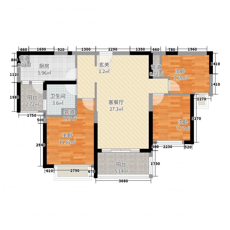 恒大名都315.61㎡舒适天地户型3室2厅1卫1厨