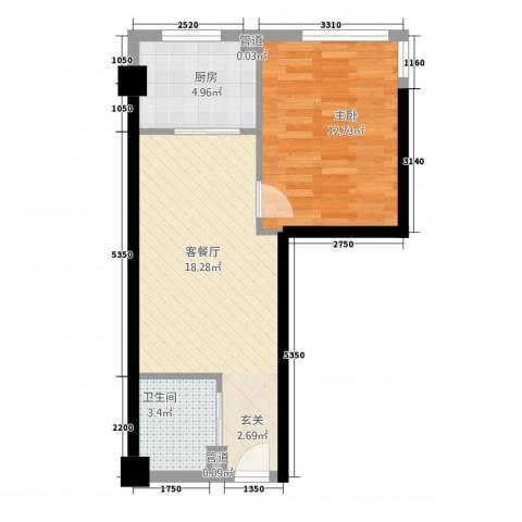 金色地带1室1厅1卫1厨39.50㎡户型图