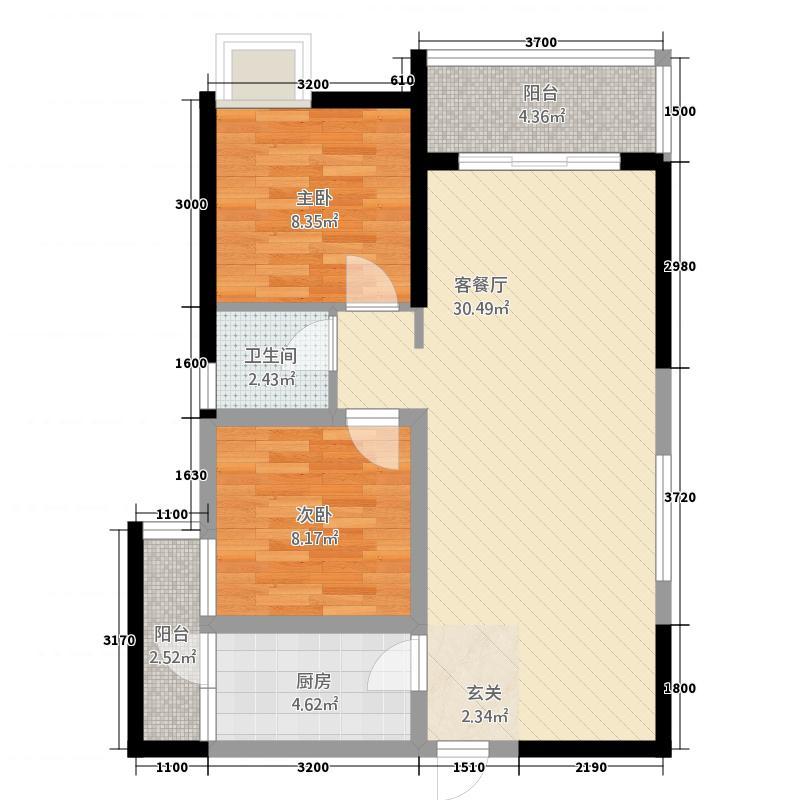 龙正中央海洋公园785.58㎡7#B/F户型2室2厅1卫