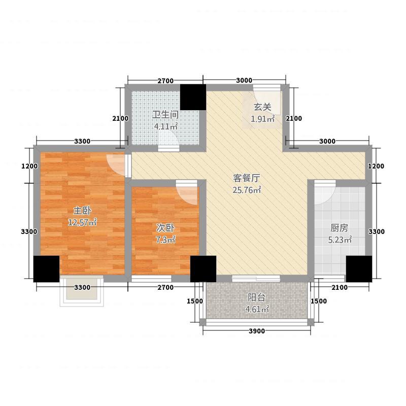 金港新城商住楼4.32㎡D户型2室2厅1卫1厨