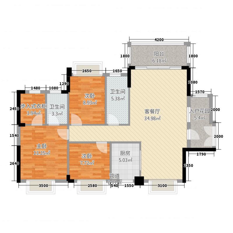 西岸花园一期31117.20㎡3栋A1户型3室2厅2卫1厨