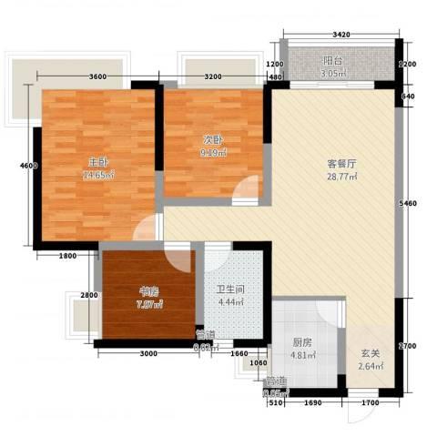 枫�398F区3室1厅1卫1厨72.05㎡户型图