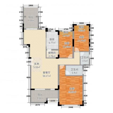 深业欧景城3室1厅2卫1厨158.00㎡户型图