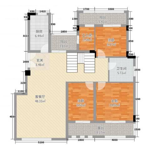 深业欧景城3室1厅1卫1厨115.00㎡户型图