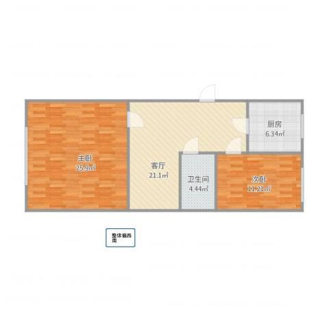 康乐里2室1厅1卫1厨92.00㎡户型图